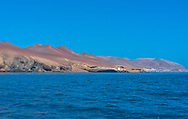 The Paracas desert in Peru seen from the Pacific ocean.