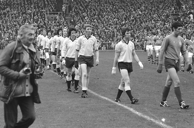 The Dublin team being led around Croke Park before the start of the All Ireland Senior Gaelic Football Final Dublin v Kerry in Croke Park on the 26th September 1976. Dublin 3-08 Kerry 0-10.