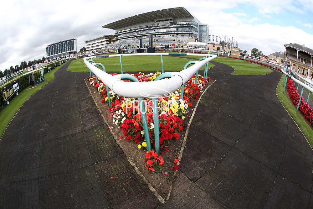A general view of the Parade Ring prior to the opening day of the St Leger Festival at Doncaster Racecourse, Doncaster, United Kingdom on 11 September 2019.