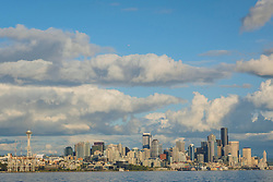 United States, Washington, Seattle, downtown skyline viewed from Elliott Bay