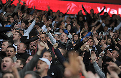 Swansea City Fans sing during the game - Photo mandatory by-line: Alex James/JMP - Tel: Mobile: 07966 386802 03/11/2013 - SPORT - FOOTBALL - The Cardiff City Stadium - Cardiff - Cardiff City v Swansea City - Barclays Premier League