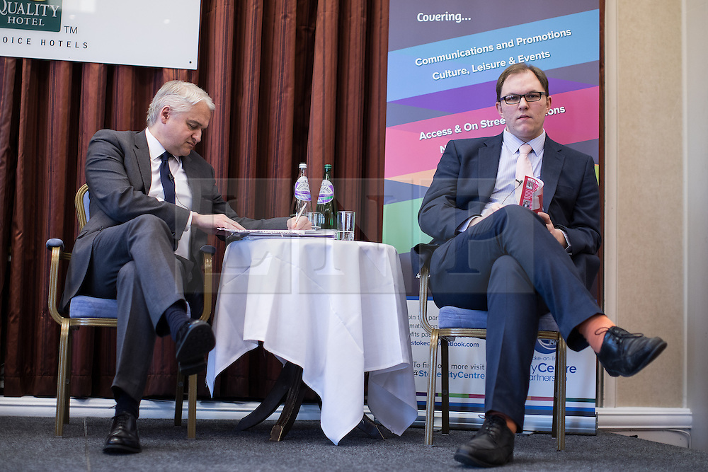 © Licensed to London News Pictures . 16/02/2017. Stoke-on-Trent, UK. PATRICK O'FLYNN and GARETH SNELL . Hustings in Stoke-on-Trent Central by-election at the Quality Hotel in Stoke , for local businesses with Lib Dem candidate Dr Zulfiqar Ali, Conservative candidate Jack Brereton,  Labour candidate Gareth Snell and, in place of UKIP candidate Paul Nuttall who didn't turn up , Patrick O'Flynn . Photo credit: Joel Goodman/LNP