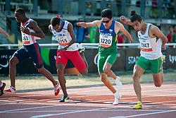 ABIDOGUN Ola, GONZALEZ ISIDORIA Raciel, NASCIMENTO Yohansson, COLE Gabriel, GBR, CUB, BRA, AUS, 100m, T46, 2013 IPC Athletics World Championships, Lyon, France