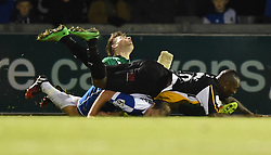 Bristol Rovers' captain Mark McChrystal in collision with Fabian Spiess and Gateshead's Michael Rankine - Photo mandatory by-line: Paul Knight/JMP - Mobile: 07966 386802 - 19/12/2014 - SPORT - Football - Bristol - The Memorial Stadium - Bristol Rovers v Gateshead - Vanarama Conference