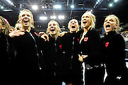 The University of Utah Utes gymnastic team celebrates after they clinched a birth into tomorrow's super six round of the 2011 Women's NCAA Gymnastics national tournament on April 15, in Cleveland, OH. (photo/Jason Miller)