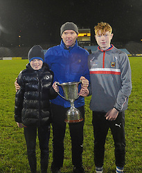 Claremorris U21 Manager Kevin Beirne celebrates the U21 win with his sons Adam and Darragh.<br />Pic Conor McKeown