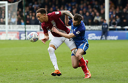 Gwion Edwards of Peterborough United battles for the ball with Shay Facey of Northampton Town - Mandatory by-line: Joe Dent/JMP - 02/04/2018 - FOOTBALL - ABAX Stadium - Peterborough, England - Peterborough United v Northampton Town - Sky Bet League One