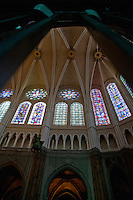 Our Lady of Chartres Cathedral, Chartres, France. A look at the recently restored section to show the vaulting, windows and arcade.