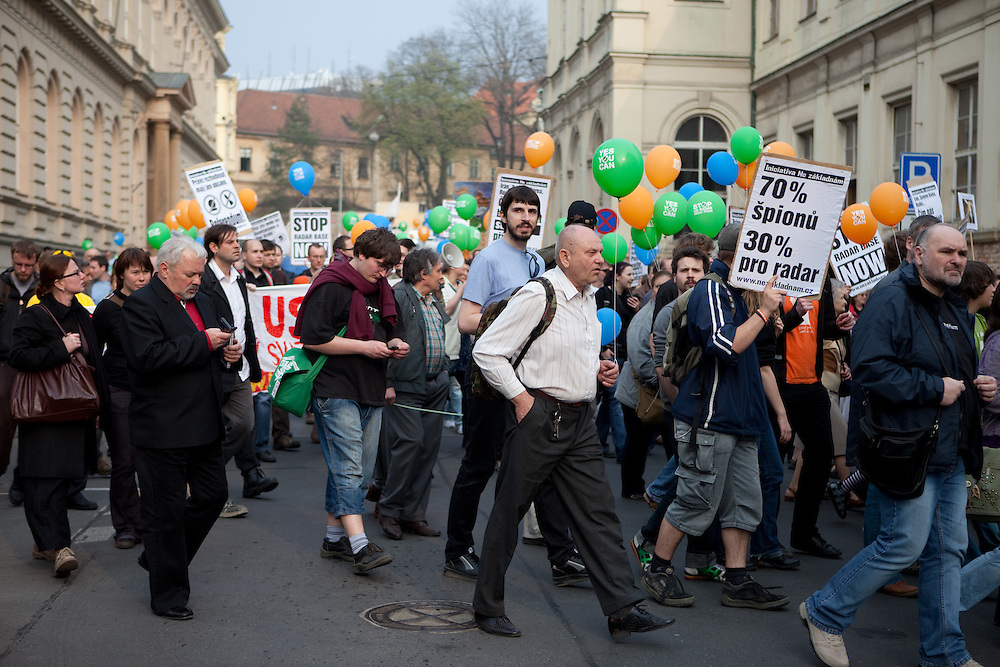 Protestors moving through Prague during a demonstration against the planned US military radar base in Czech Republic on the day of Barack Obamas participation on the EU-US summit in Prague.