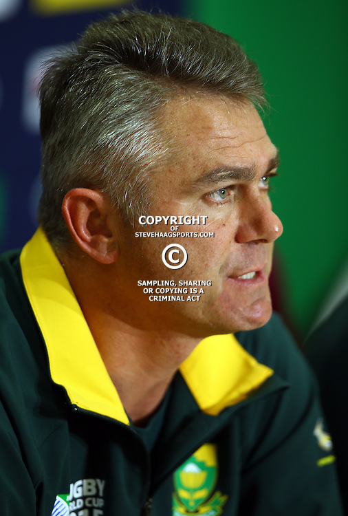 LONDON, ENGLAND - OCTOBER 05: Heyneke Meyer (Head Coach) of South Africa during the South African national rugby team announcement at The Lensbury Hotel on October 05, 2015 in London, England. (Photo by Steve Haag/Gallo Images)