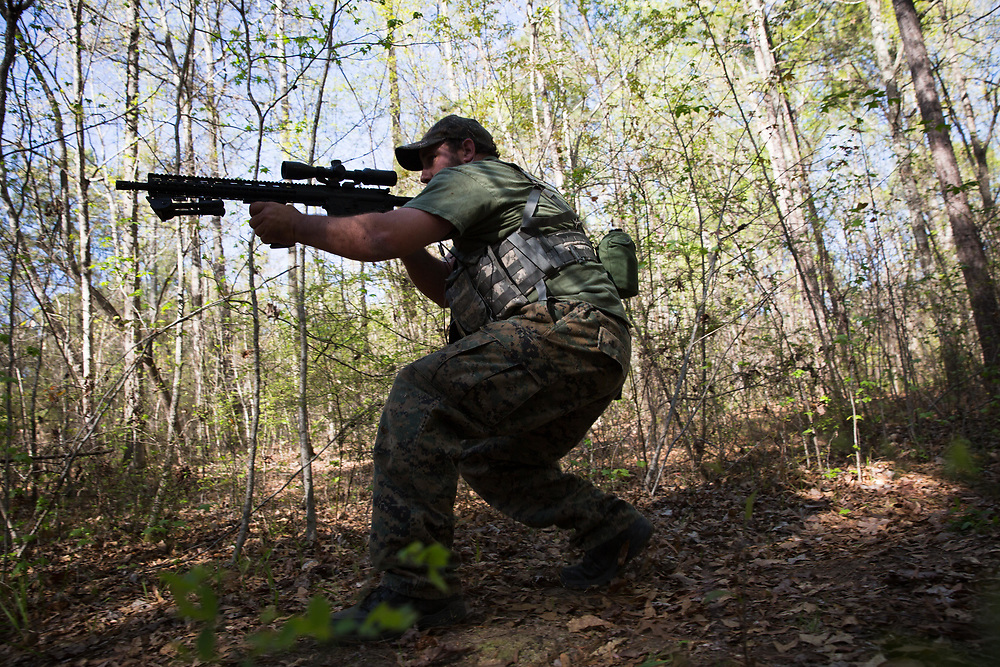 Devin Bowen, whose call sign is Boogieman, and is Gunnery Sgt. of Georgia Security Force III%, participates in a training course built for the group on private property near Jackson, Ga. This photograph was taken on Saturday, April 1, 2017. Photo by Kevin D. Liles for BuzzFeed<br /> <br /> <br /> Shot during a FTX (field training exercises) weekend for Georgia Security Force III% militia, as well as some members for the South Carolina Security Force III%. GSF III% is part of the umbrella group, III% Security Force, which includes groups from several states. Chris Hill (Blood Agent), commanding officer of GSF III%, is the founder of the Security Force movement. According to him, GSF III% membership fluctuates between 30-50 members and growing by about one member per day.  GSF III%, as do the other groups, train one weekend per month.