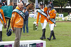 Team Netherlands, Rob Ehrens,  Jur Vrieling, Willem Greve, (NED) winners of the Furusiyya FEI Nations Cup presented by Longines - La Baule 2016<br /> © Hippo Foto - Dirk Caremans<br /> 13/05/16