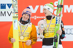 Second placed Severin Freund of Germany and winner Peter Prevc of Slovenia in Overall Ski Flying classification celebrate during final trophy ceremony after the Ski Flying Individual Competition at Day 4 of FIS World Cup Ski Jumping Final, on March 22, 2015 in Planica, Slovenia. Photo by Vid Ponikvar / Sportida