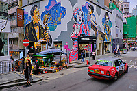 Chine, Hong Kong, Hong Kong Island, quartier branché de Soho, Hollywood road, peinture murale // China, Hong Kong, Hong Kong Island, Soho in Hollywood road, wall painting