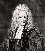 Michael Alberti (1682-1757) German physician and a founder of forensic medicine, born in Nuremberg.  Engraving from From 'Icones Virorum' by Friedrich Roth-Scholtz (Nuremberg, 1725).