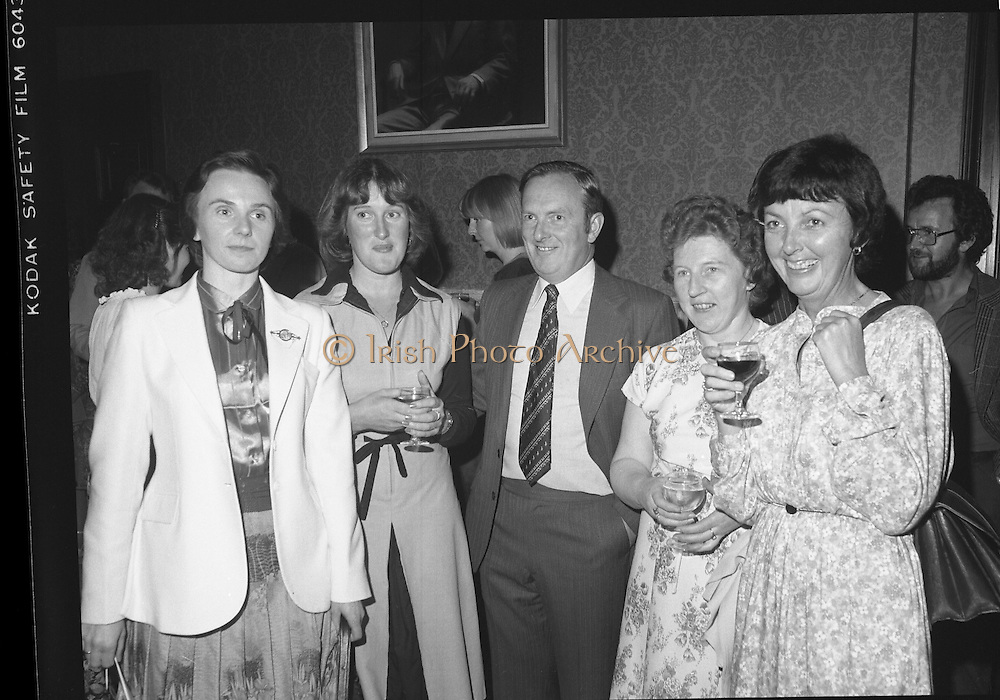 09/08/1979.08/09/1979.9th August 1979.Opening of Irish Patchwork exhibition and Presentation of the Young Designer Awards at Kilkenny Castle. From L-R Mrs Mary Fitzgerald, A.I.B. Urlingford, Miss Margaret Ryan, A.I.B., Patrick St Kilkenny, Mr Jim Daly, Regional Manager, A.I.B.,Kilkenny, Miss Monica O'Connell, A.I.B. Kilkenny, and Miss Eileen Buckley, A.I.B Kilkenny.