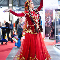 Milan, Italy - February  17: Azerbaijan dancers at BIT International Tourism Exchange on february 17, 2012 in Milan, Italy.