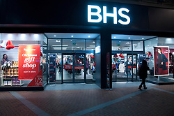Shoppers at an entrance of BHS, Reading, Berkshire, England, 13 November 2013. Picture by Jonathan Mitchell / i-Images