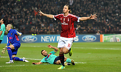 23.11.2011, Giuseppe Meazza Stadion, Mailand, ITA, UEFA CL, Gruppe H, AC Mailand (ITA) vs FC Barcelona (ESP), im Bild esultanza dopo il gol di Zlatan IBRAHIMOVIC (Milan) goal celebration // during the football match of UEFA Champions league, group H, between Gruppe H, AC Mailand (ITA) and FC Barcelona (ESP) at Giuseppe Meazza Stadium, Milan, Italy on 2011/11/23. EXPA Pictures © 2011, PhotoCredit: EXPA/ Insidefoto/ Alessandro Sabattini..***** ATTENTION - for AUT, SLO, CRO, SRB, SUI and SWE only *****