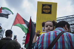 July 21, 2017 - Kuala Lumpur, Malaysia - A protest outside U.S. Embassy in Kuala Lumpur, Malaysia on Friday, July 21, 2017. A Malaysian Muslim non-governmental organization (NGO) gathered to protest against Israel's closure of the Al-Aqsa mosque and denying the rights of Muslims to perform Friday prayers  (Credit Image: © Mustaqim Khairuddin/NurPhoto via ZUMA Press)