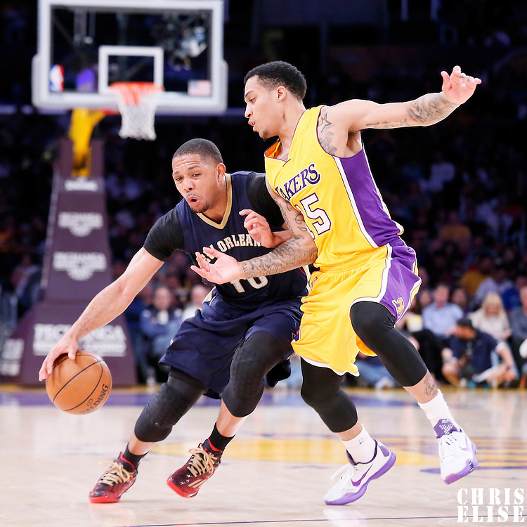 01 April 2015: New Orleans Pelicans guard Eric Gordon (10) drives past Los Angeles Lakers guard Jabari Brown (15) during the New Orleans Pelicans 113-92 victory over the Los Angeles Lakers , at the Staples Center, Los Angeles, California, USA.