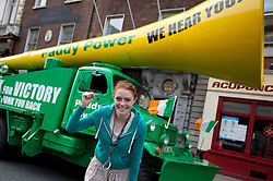 No fee for Repro: 17/06/2012 .Trish Jackson pictured as Top bookie Paddy Power sent its record breaking Vuvuzela truck onto the streets of Dublin on Sunday morning to help rally Ireland fans once last time around the Boys in Green ahead of their final Euro 2012 match against Italy tomorrow night.  Ireland fans can show their support by following the Twitter conversation #HONKforVICTORY! Picture: Andres Poveda Sharppix