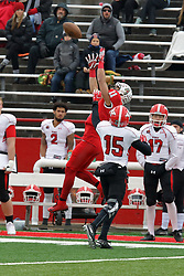 NORMAL, IL - November 17: Spencer Schnell leaps for a pass near the sidelines during a college football game between the ISU (Illinois State University) Redbirds and the Youngstown State Penguins on November 17 2018 at Hancock Stadium in Normal, IL. (Photo by Alan Look)
