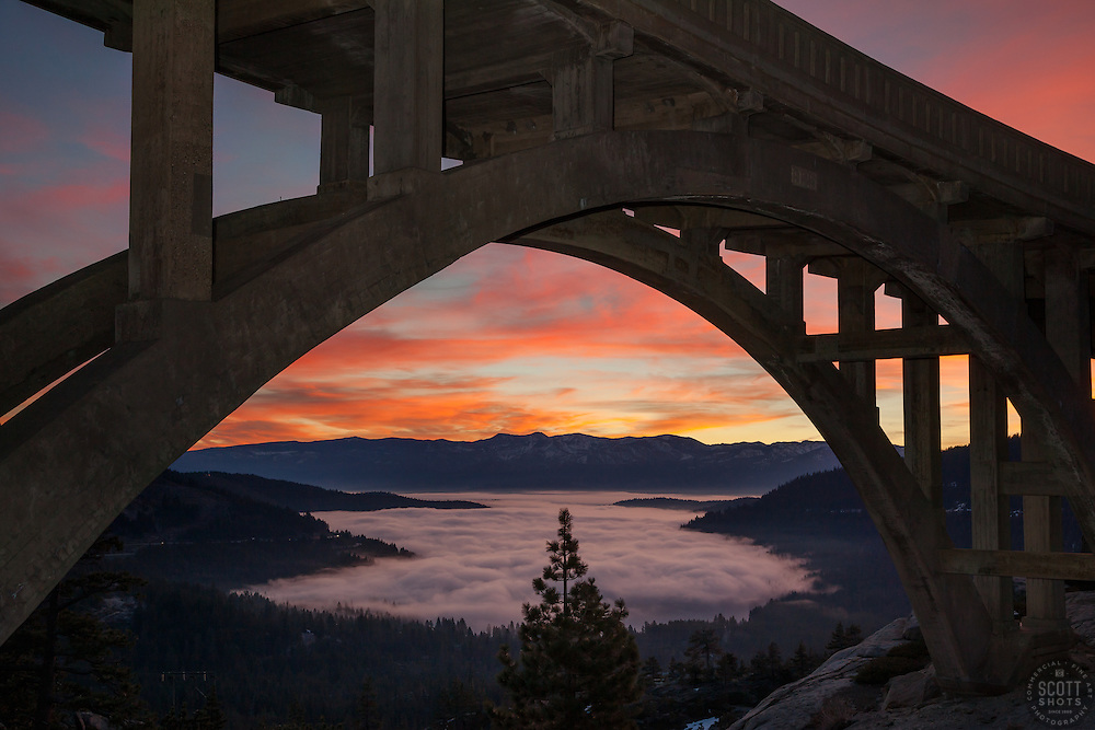 """""""Sunrise at Rainbow Bridge 1"""" - This colorful sunrise was photographed at Rainbow Bridge, above a fog covered Donner Lake and Truckee, California."""