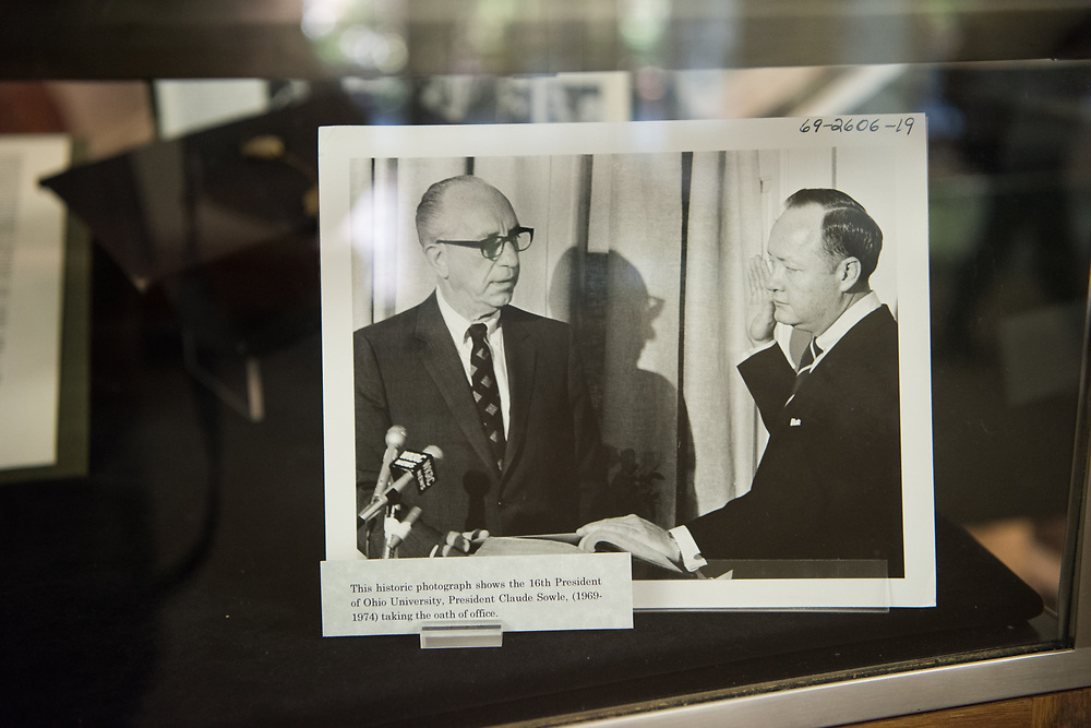 This photo shows the 16th President of Ohio University, President Claude Sowle (1969-1974), taking the oath of office.