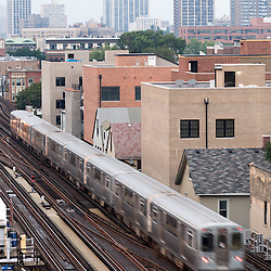 Chicago elevated L-EL trains in Wrigleyville photo