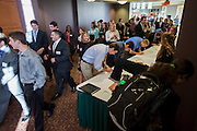 "Business students flood into the Baker Center ballroom for ""Meet the Accountants,"" an event to help students get internships and jobs at various banks and accounting firms, on Thursday, September 11, 2014. Photo by Katelyn Vancouver"