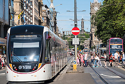 Modern tram  on Princes Street in Edinburgh Scotland united Kingdom