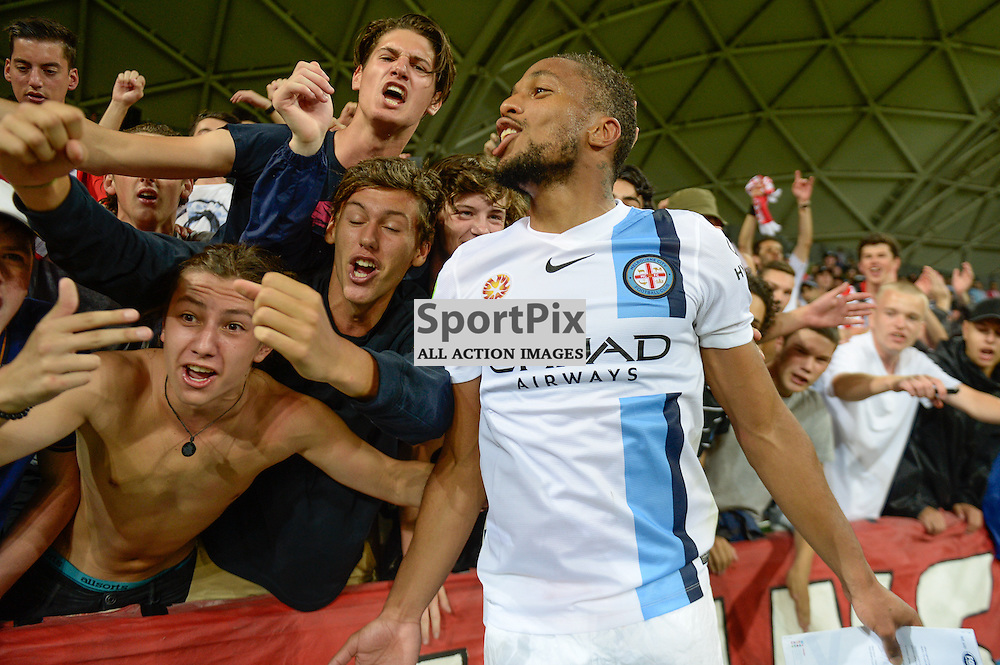 Harry Novillo of Melbourne City with excited City fans at the end of the Hyundai A-League, January 9th 2016, RD14 match between Melbourne City FC v Western Sydney Wanderers FC at Aami Park in a 3:2 win to City. Melbourne, Australia. © Mark Avellino | SportPix.org.uk