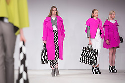 © Licensed to London News Pictures. 02/06/2014. London, England. Birmingham City University, collection by Stephanie Lee. Graduate Fashion Week 2014, Runway Show at the Old Truman Brewery in London, United Kingdom. Photo credit: Bettina Strenske/LNP