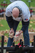 Volunteers from the Royal British Legion set out the Field of Remembrance outside Westminster Abbey. The field comprises thousands of poppies on crosses to remember individuals and units. It will be completed in time for a Royal visit on Thursday . London 07 Nov 2017.