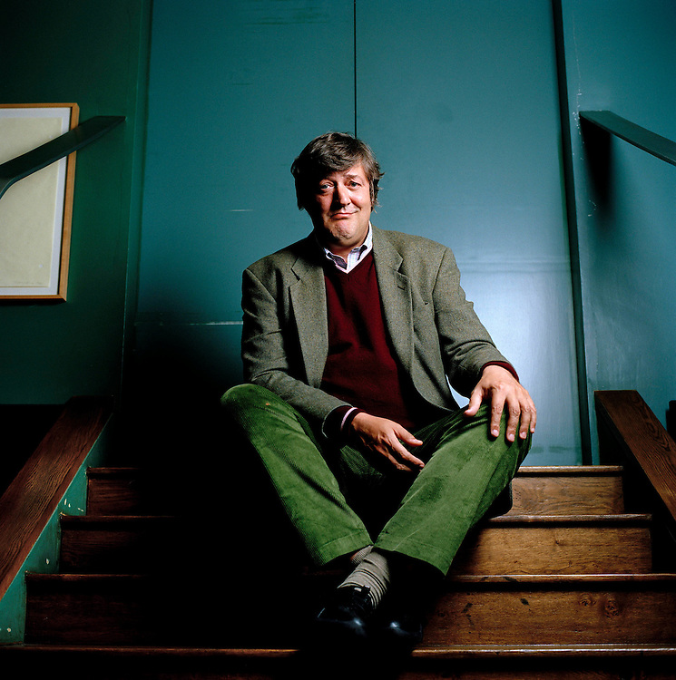 Stephen Fry, actor, TV presenter and writer photographed at The Groucho Club in Soho, London.