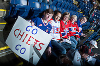 KELOWNA, CANADA - MARCH 7: Spokane Chiefs' fans show their support at the Kelowna Rockets on March 7, 2015 at Prospera Place in Kelowna, British Columbia, Canada.  (Photo by Marissa Baecker/Shoot the Breeze)  *** Local Caption *** fans;