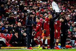 Xherdan Shaqiri of Liverpool shakes hands with Liverpool manager Jurgen Klopp after being substituted - Mandatory by-line: Robbie Stephenson/JMP - 30/01/2019 - FOOTBALL - Anfield - Liverpool, England - Liverpool v Leicester City - Premier League