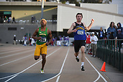 Maxwell Willis (204) of Baylor and  Coby Hilton (1153) of South Dakota State run in a 100m heat during the NCAA West Track & Field Preliminary, Thursday, May 23, 2019, in Sacramento, Calif.