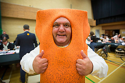 © Licensed to London News Pictures. 08/06/2017. Kendal UK. Picture shows candidate Mr Fish Finger as counting starts in Kendal leisure centre for in Tim Farron's constituency of Westmorland & Lonsdale. Photo credit: Andrew McCaren/LNP