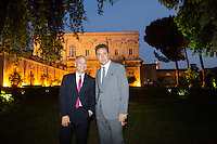 ROME, ITALY - 3 JUNE 2015: (L-R) President of the American Academy Mark Robbins and film director Paolo Sorrentino pose for a portrait at the McKim Medal Gala honouring Carlo Petrini and Paolo Sorrentino at the American Academy  in Rome, Italy, on June 3rd 2015.