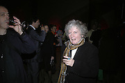 Maggi Hambling, Gilbert and George Major Exhibition. Tate Modern. Afterwards dinner at Christchurch Spitafields. London. 13 February 2007.  -DO NOT ARCHIVE-© Copyright Photograph by Dafydd Jones. 248 Clapham Rd. London SW9 0PZ. Tel 0207 820 0771. www.dafjones.com.