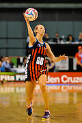 Demelza Fellowes of the Tactix during the ANZ Championship match between, Tactix v Pulse, 16 March 2015 at Horncastle Arena, Christchurch. Copyright Photo: John Davidson / www.Photosport.co.nz