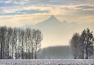 The pyramid of the Monviso peeping through the mist at sunset. Taken in the fields around my hometown of Scalenghe in Piedmont, italy, an evening at the beginning of January.