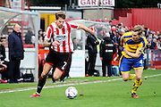 Harry Pell during the Vanarama National League match between Cheltenham Town and Altrincham at Whaddon Road, Cheltenham, England on 19 December 2015. Photo by Carl Hewlett.