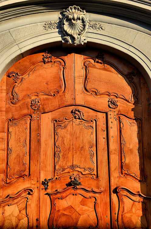 Wooden Door Facing M&uuml;nsterplatz in Basel, Switzerland<br />