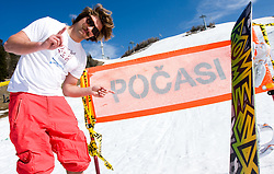 Filip Flisar, winner of crystal globe 2012 in ski cross posing after Luza Petrol 007 on ski resort RTC Krvavec, 31.3.2012, Cerklje na Gorenjskem, ski resort RTC Krvavec, Slovenia