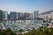 Sail boats and yachts moored in Aberdeen Bay, Hong Kong. The bay is a traditional fishery port as a nature shelter is formed by the hills on either side, which makes is popular for sailing.  (photo by Andrew Aitchison / In pictures via Getty Images)