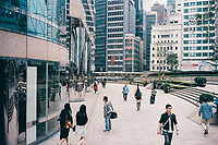 People and buildings in downtown Hong Kong.