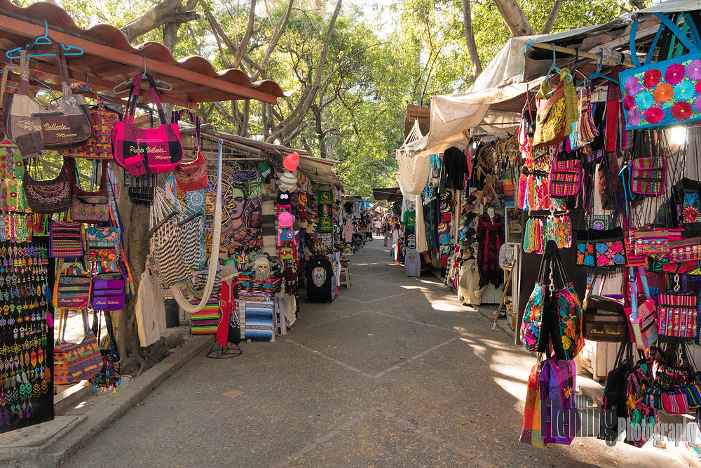 Colorful souvenirs for sale in Puerto Vallarta's Isla Cuale, an island on the River Cuale.